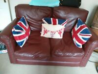 Free two 2 seater sofas, oxblood red, good condition needs collection