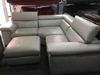 New/Ex Display Liberata Grey Leather Corner Sofa (movable head rests)