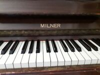 Upright wooden piano with metal frame. Make: Milner. Free but would need to be collected.