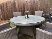 Grey Rattan effect glass top garden table and 4 chairs
