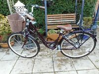ladies burgundy hybrid raleigh cameo 17 inch frame with basket and lock exellent condition