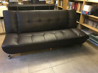 Faux brown leather sofa bed/futon - modern look - £35