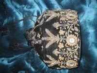 DRAWSTRING BAG - black velvet, probably early 1900s.