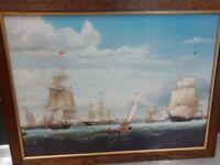 "SHIP SCENE COLOURED PRINT "" FREE FRAME"""