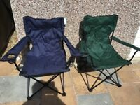 4 folding camping chairs.