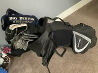 Callaway and ping golf clubs with bag.