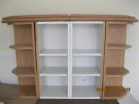 Kitchen Wall units 2x 300 wall units and 2x 300 corner wall unit shelfs beech colour all for £20