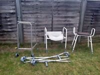 1* zimmer frame, 2 sets of crutches, 1* toilet disabled aid, 1* Shower bench with padded seat