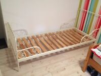 Single metal frame bed expandable. Good cond ikea £30 with mattress if required