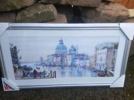 Venice Painting 860 x 460mm with silver frame