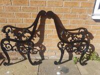 Antique Cast Iron Lion Heads Garden Bench Ends Refurbished