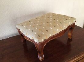 SMALL WOODEN FRAMED FOOT STOOL