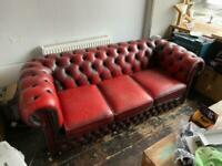 3 Seater Red Chesterfield