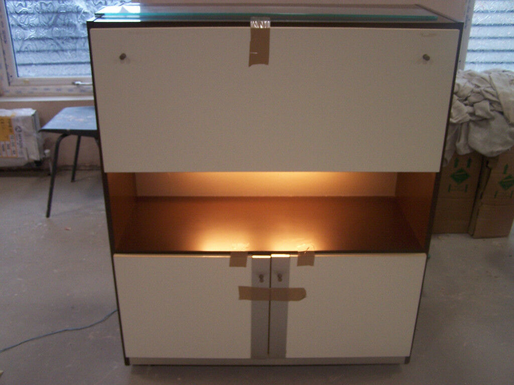 Vintage Retro Cream and Brown Cocktail cabinet