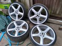 "22"" 5x120 alloys with almost new tyres"