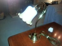 Lamp ( Table ) in brass finish with white glass shade