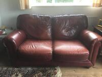 Leather 2 seater sofa and chair