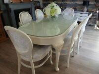 shabby chic french style table and 6 chairs