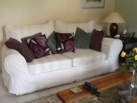 Comfy White sofa with washable covers. FREE for collection