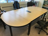 Ikea Conference Desk System in Beech, Long Oval, 3 separate desk system, £500 worth, quick sale £150