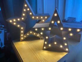 2 Light up Stars Decorations - wooden home office decoration