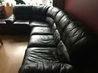 Right corner black brown leather sofa