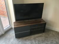 Coffee table, TV unit, lamp table & 2 storage/shelves matching walnut