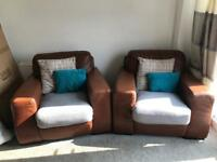 Brown three piece suite