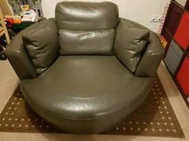 Leather Rotating 2 seater Cuddle Chair