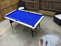7ft Full Size Pool Table - Deluxe Folding Leg in Silver and Blue