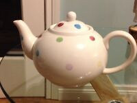 Unused spotty teapot. Has been on display £4