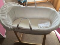 White wicker Moses basket with rocking stand