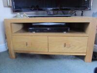Solid Light Oak corner TV cabinet