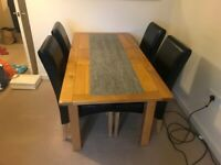 Solid oak dining table & 5 chairs