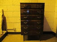 VINTAGE MEREDEW MID CENTURY SIX DRAWER HIGH GLOSS CHEST OF DRAWERS FREE DELIVERY