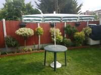 Garden umbrella with base