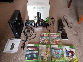 Xbox 360 E 500gb console black with two wireless controllers, scratchless with box and accessories