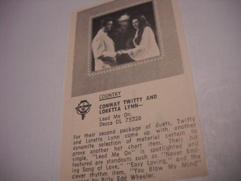CONWAY TWITTY & LORETTA LYNN Lead Me original 1972 music biz Promo Album Review