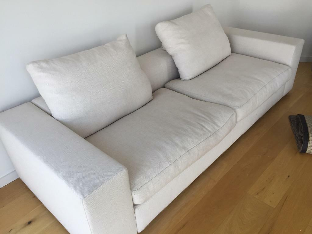 Modern Two Seater White Fabric Designer Sofa In Canary Wharf London Gumtree