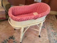 Vintage wicker bassinet / crib on original stand