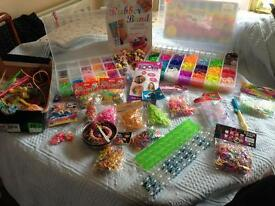 Massive bundle of Loom bands, book, 3 boxes, new packs, Clips, Charms etc.
