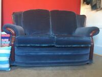 2 Seater Blue Fabric Couch with reversible cushions