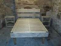 Bespoke Double Bed Frame and Two Matching Bedside Units