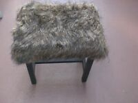 Funky Upcycled Wooden Furry Stool