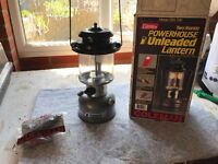 Coleman 2 Mantle Powerhouse Unleaded Lantern with filling funnel.