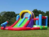 total Wipeout Bouncy Castle Inflatable Water Slide Combo With Electric Fan