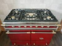 LACANCHE CLUNY 100CM RANGE COOKER IN RED AND BRASS..