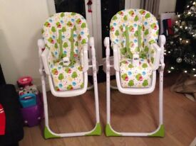 Two Mothercare folding adjustable white high chairs £50 pair or £30 each table 5 point harnesses