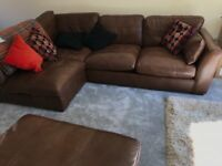 Brown leather sofa. 3 years old. No children/pets. Hardly been used and is in excellent condition.