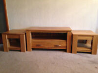 TV stand solid oak + two solid oak side tables